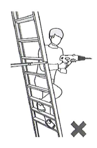 Keep your weight centered on a ladder